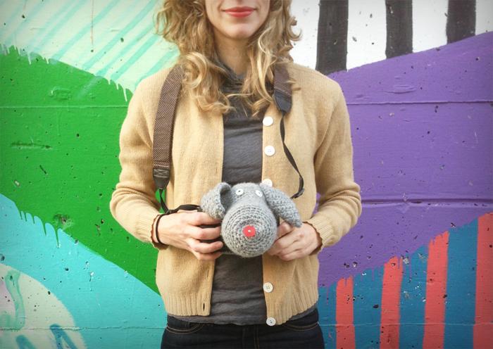 husa tricotata pentru aparat foto