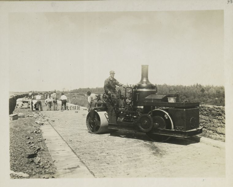 poza alb negru constructie autostrada america sua