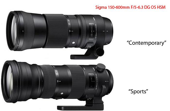 poza obiective Sigma 150 - 600 mm f:5 - 6,3 DG OS HSM Sport (S) şi Contemporary (C)
