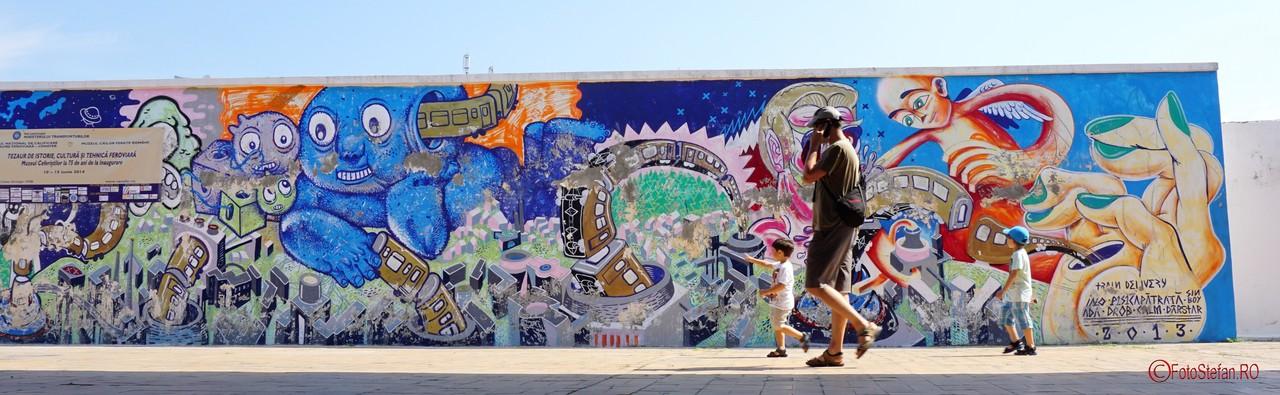 poza panoramica graffiti peron gara de nord bucuresti