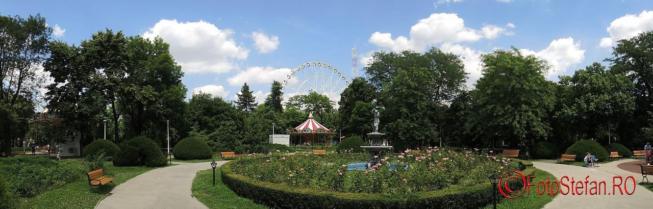 fotografie panoramica parcul tei roata mare carusel fantana