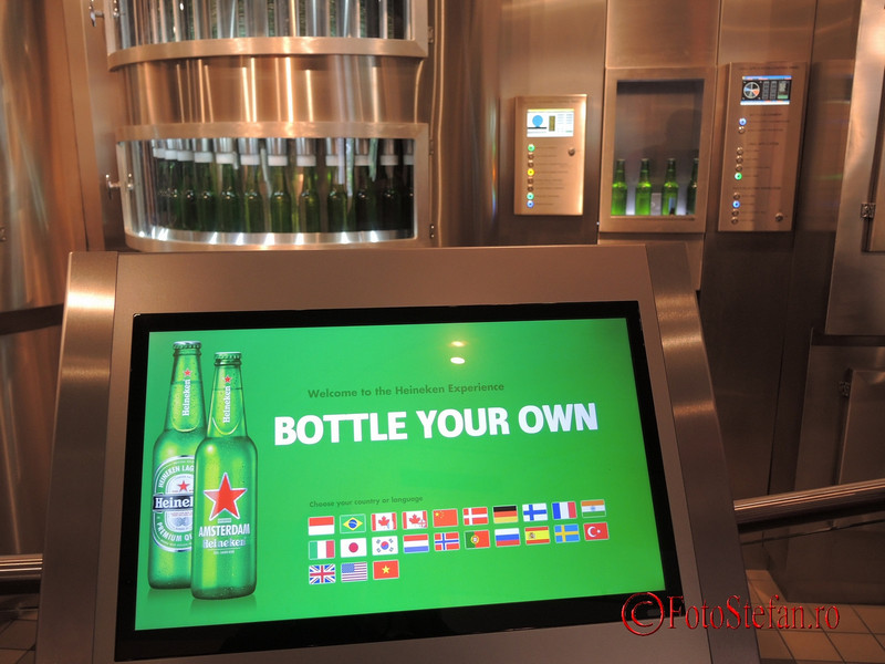 poza sistem printare eticheta Heineken Experience Amsterdam