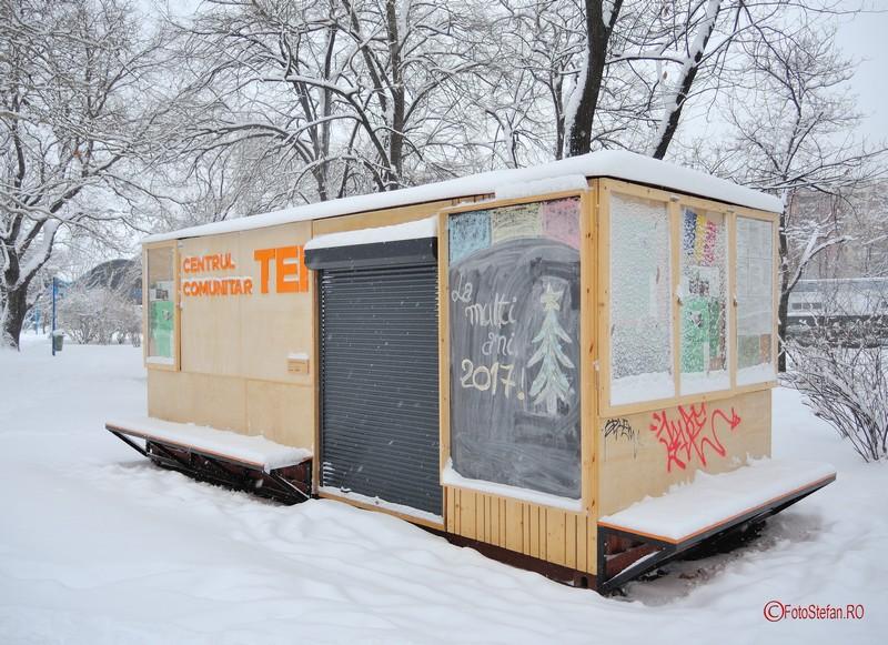 poza centrul comunitar tei parcul circului iarna zapada