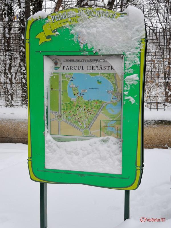 poza indicator parc herastrau zapada iarna