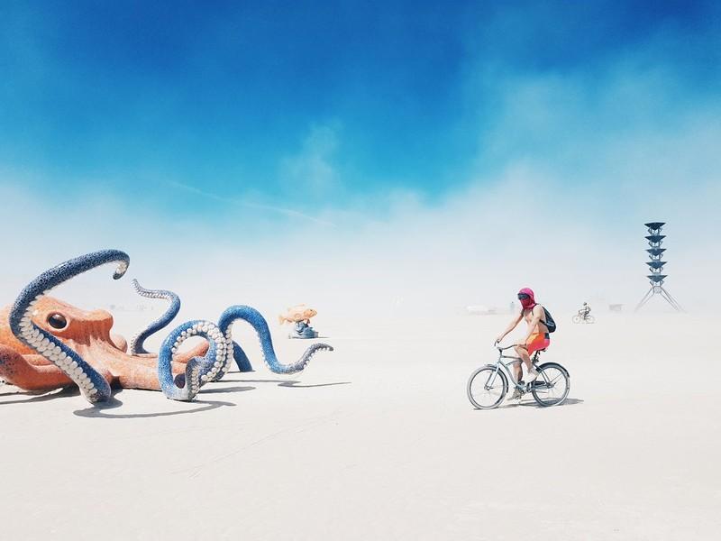 Alina Rudya poza telefon mobil Burning Man SUA