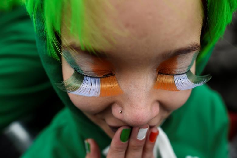 poza parada sfantul patrick fata machiaj irlandez