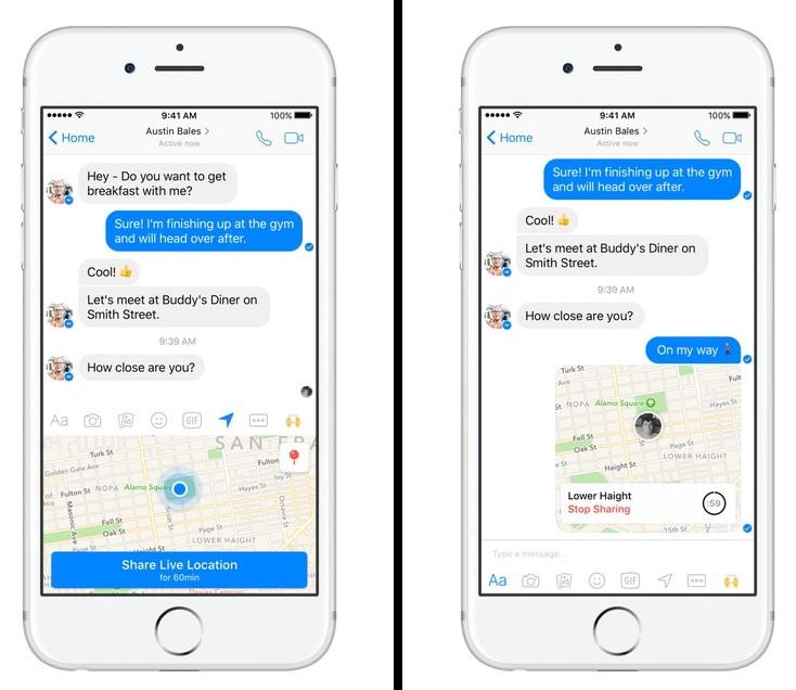 Facebook Messenger live location harta partajata cu prietenii