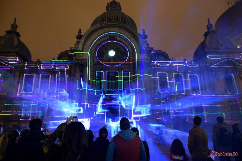 fotografii festivalul luminii spectacol lasr spotlight Palatul CEC Calea Victoriei