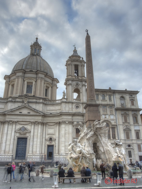 poza hdr piata Piazza Navona roma iarna decembrie