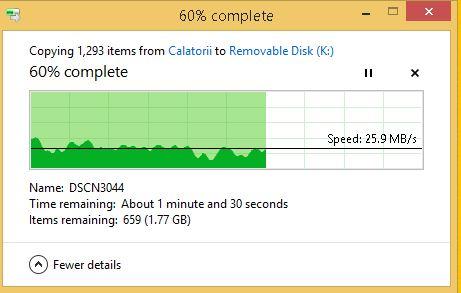 test viteza scriere citire SanDisk Ultra Flair 128GB USB 3.0