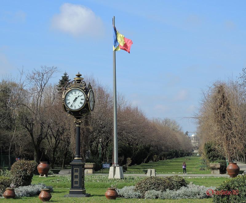 poza steagul romaniei parcul cismigiu bucuresti ceas