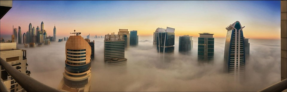 poza fotografie panoramica dubai zi ceata