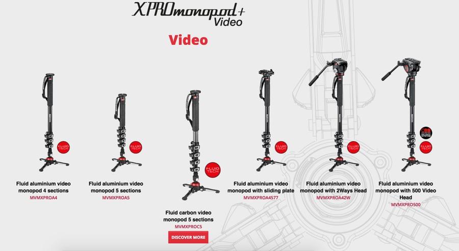 monopiede fluide videografi Manfrotto XPRO+