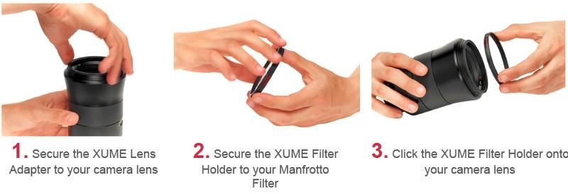 Manfrotto Xume functionare sistem prindere filtre obiectiv aparat foto