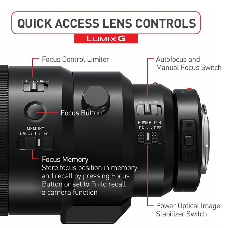 butoane obiectiv mirrorless Panasonic Elmarit 200mm f/2.8 O.I.S. Leica DG
