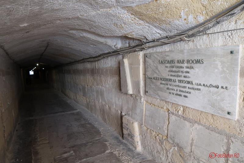 poza fotografie tunel muzeu Lascaris War Rooms Valletta Malta