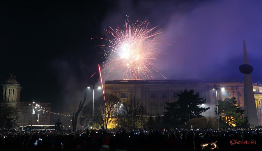 poze Focuri Artificii Revelion Bucuresti 2018 piata revolutiei