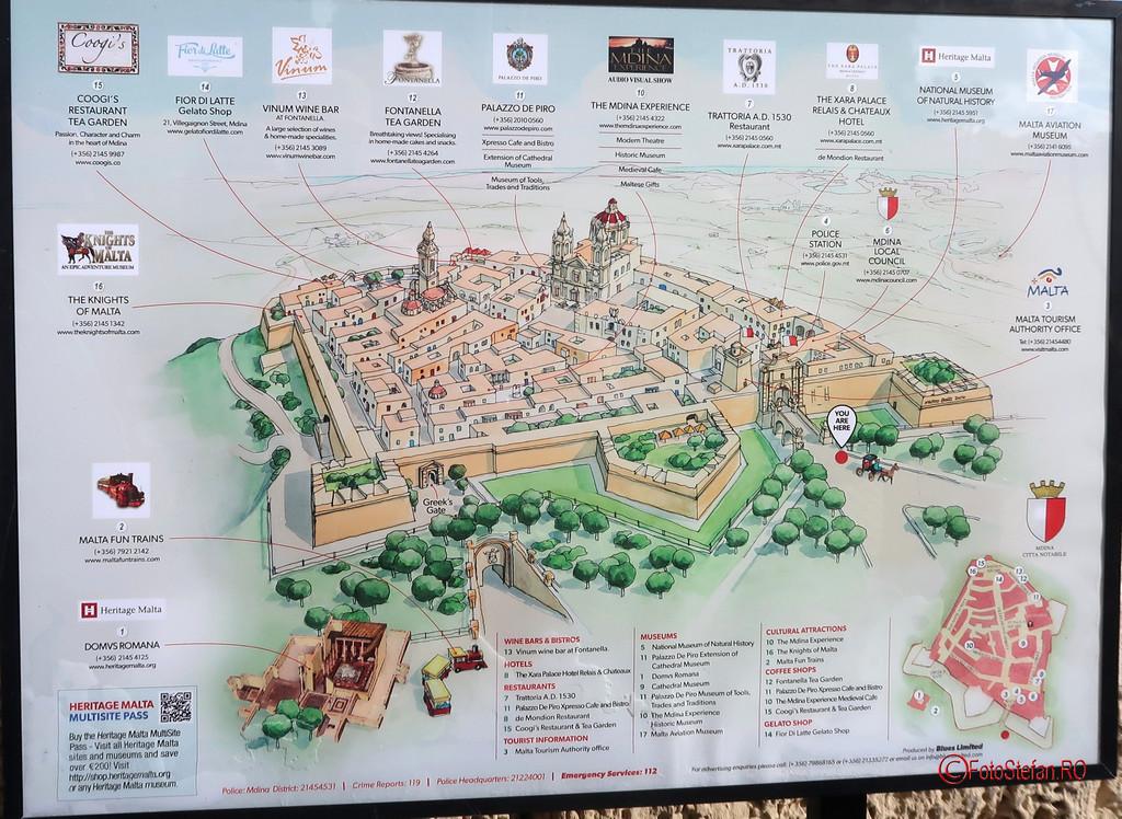 poza harta obiective turistice Mdina Malta