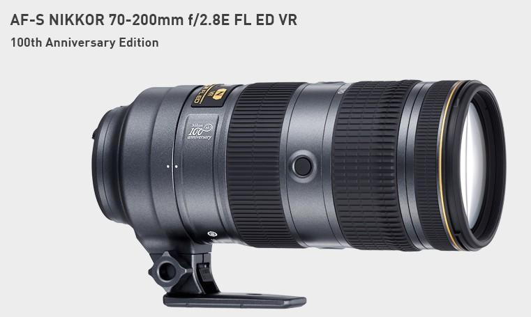 poza obiectiv zoom Nikkor 70-200mm f/2.8 - editie aniversara 100 ani Nikon