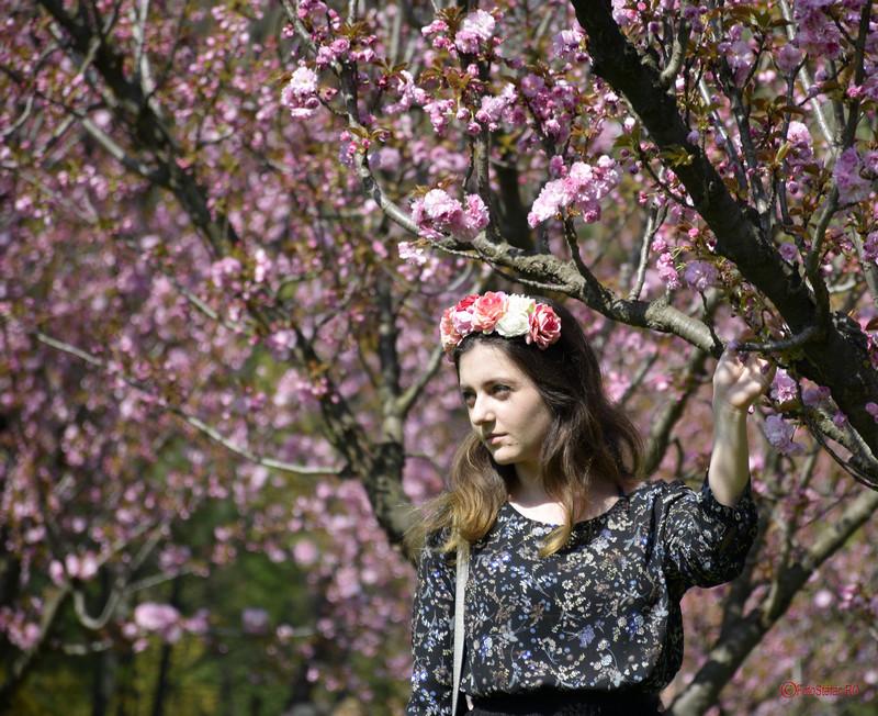 poza fata coronita flori fotografie portret flori cires herastrau bucuresti