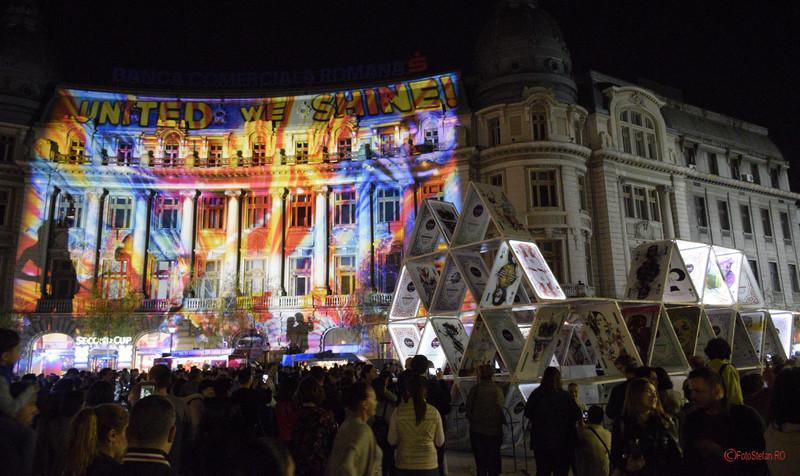 poze foto festivalul luminii spotlight bucuresti piata universitatii
