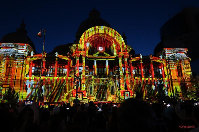 poze video mapping palatul cec bucuresti calea victoriei