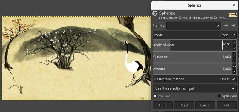 Spherize efect filtreu gimp programe gratuit prelucrare fotografii