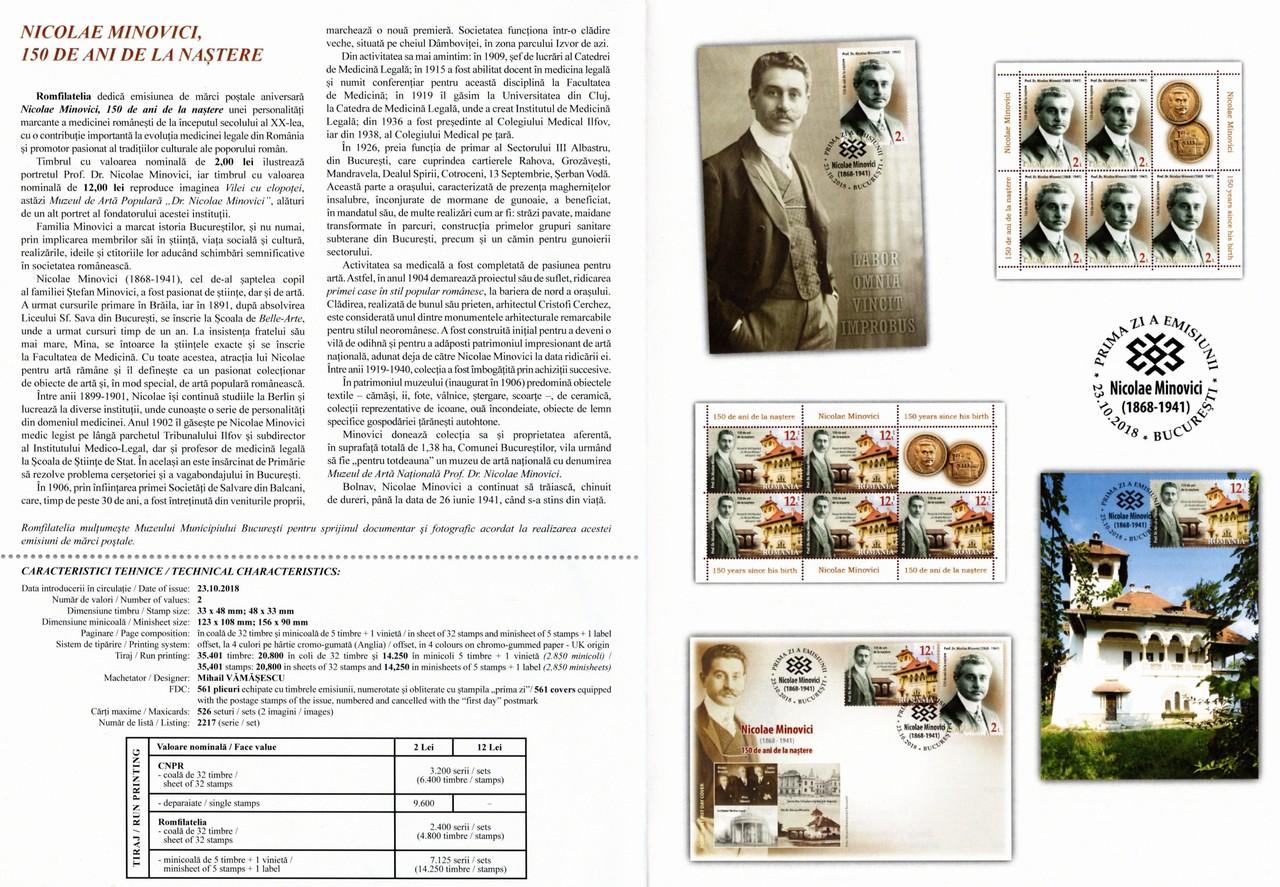 album filatelic medlaie nicolae minovici 150 ani nastere comemorare
