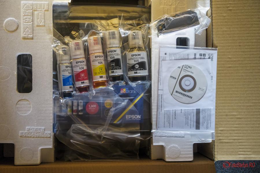 poza continut cutie imprimanta foto Epson L7160 review