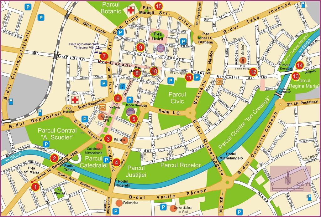poza harta Traseul Revolutiei Timisoara decembrie 1989 romania