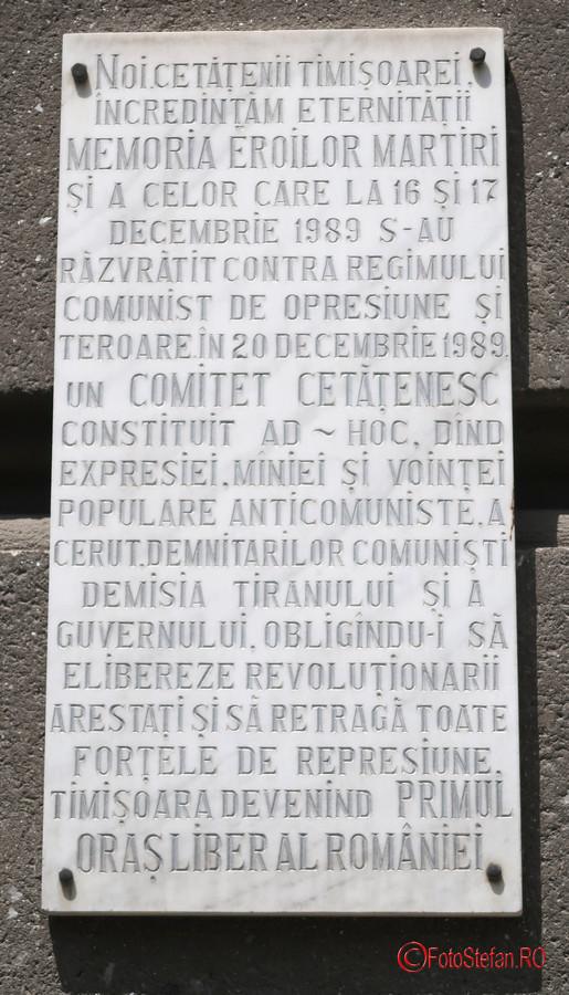 placa comemorativa evenimente decembrie 1989 timisoara romania