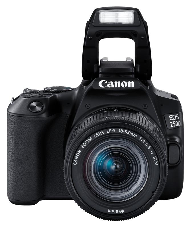poza aparat foto dslr Canon 250D blit