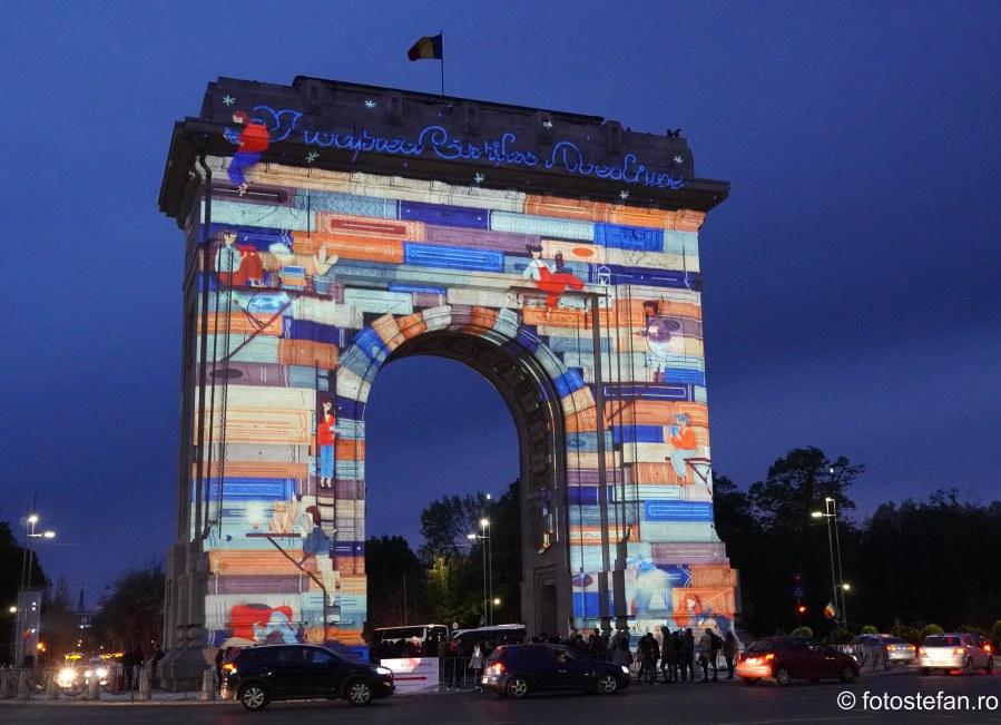 Noaptea Cartilor Deschise poze video mapping arcul de triumf bucuresti