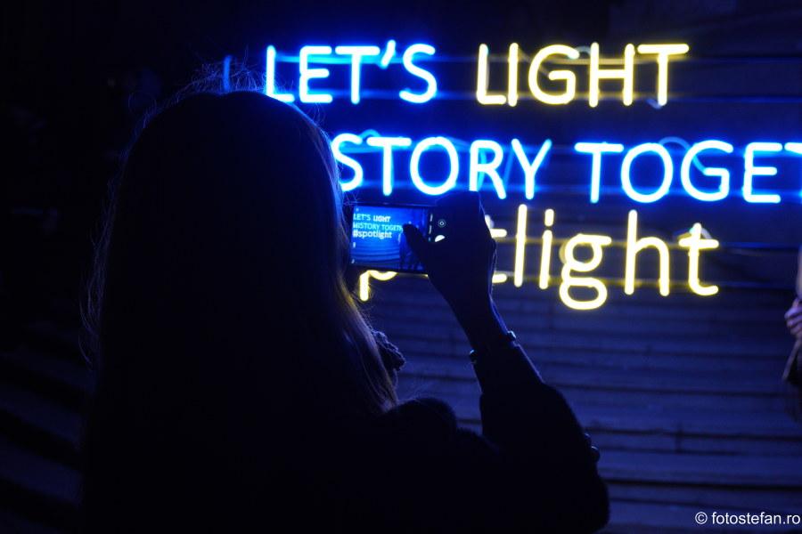 Spotlight Festivalul Luminii 2019 fotografii Bucuresti Calea Victorie noaptea