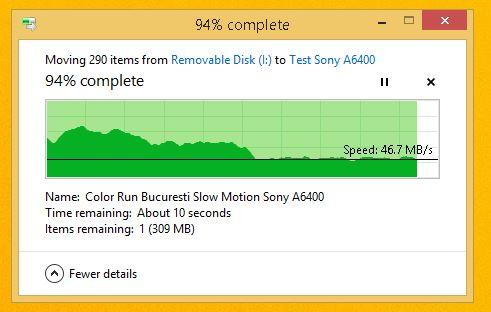 test viteza card memorie Sony SF-G 32GB