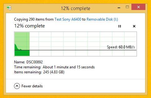 poza rezultat test viteza card memorie SD Sony SF-G 32GB