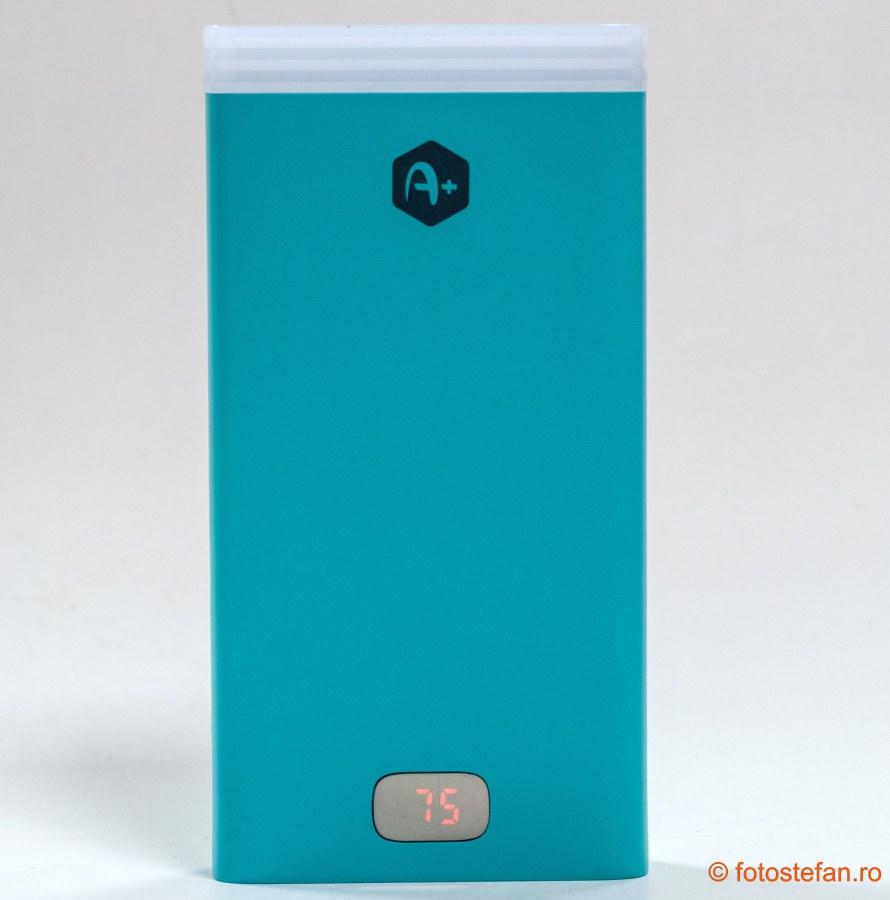 Acumulator extern A+ 15.000mAh poza baterie externa review