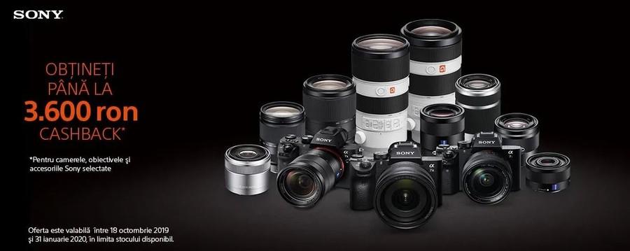 Sony Cashback aparate foto mirrorless accesorii obiective
