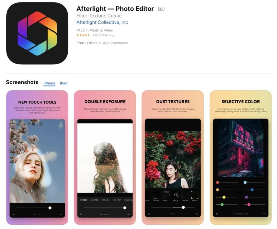 Afterlight aplicatie gratuita prelucrare poze telefon mobil