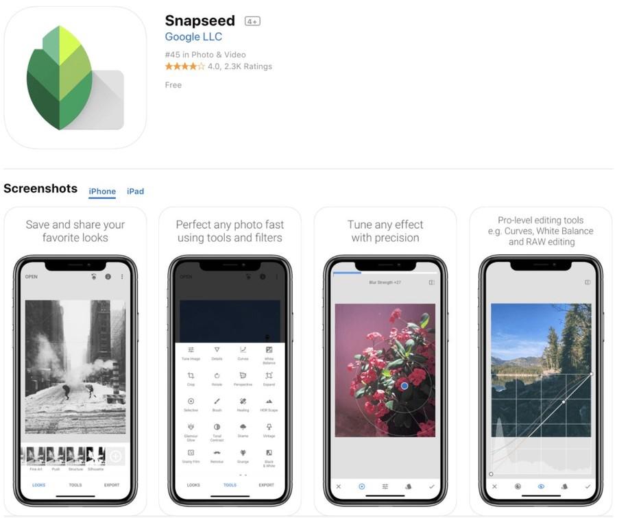 snapseed aplicatie gratuita prelucrare poze smartphone iphone ipad