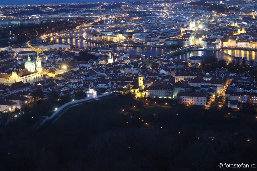 Praga vazuta de sus fotografii perspectiva seara