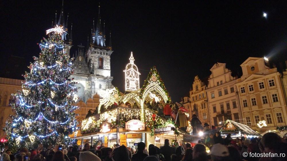 fotografii impresii piata craciun centrul istoric praga decembrie