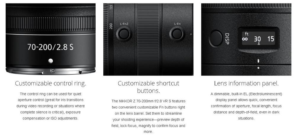poza panou control obiectiv zoom NIKKOR Nikon Z 70-200mm f/2.8 VR S