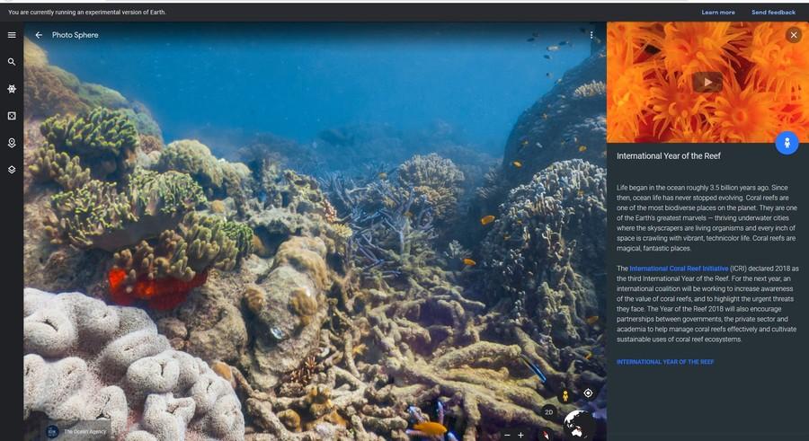 calatorie virtuala recif ocean poze video google earth
