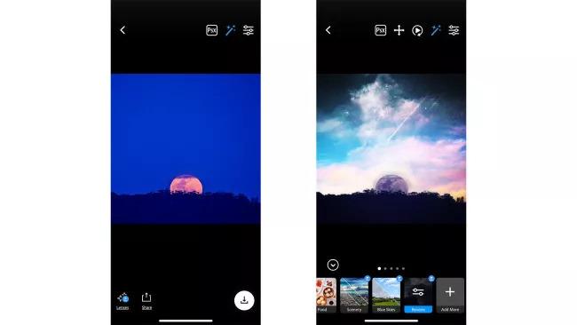 aplicatie gratuita modificare cer fotografii smartphone Photoshop Camera
