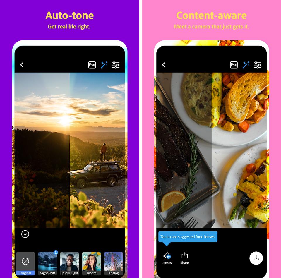 filtre foto efecte poze telefon mobil Photoshop Camera