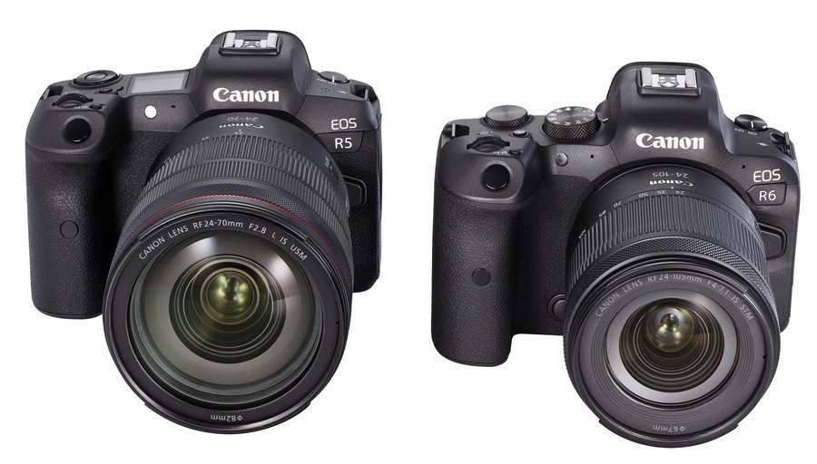 poza aparate foto mirrorless Canon EOS R5 si EOS R6