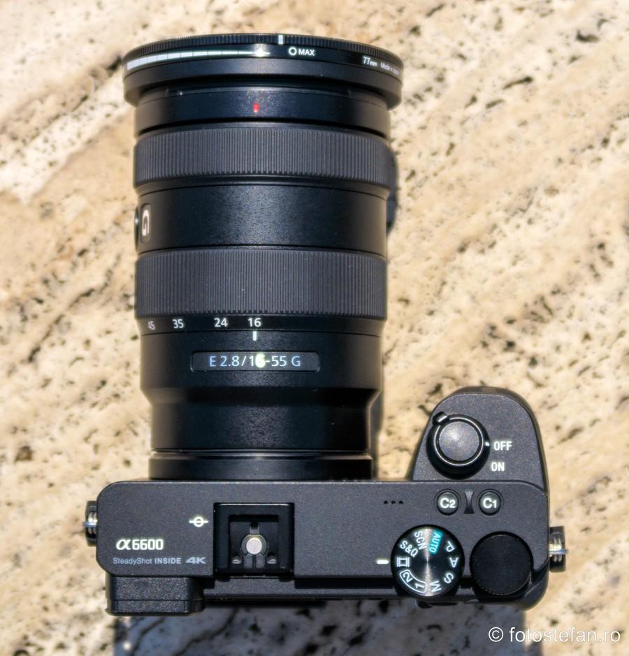 poza filtru ND variabil Hoya NDX montat obiectiv sony e 16-55mm f2.8 g a6600