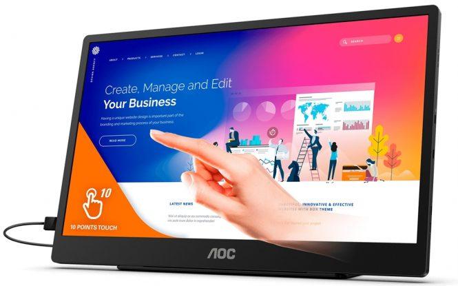 AOC 16T2 monitor portabil cu ecran IPS tactil si diagonala 15.6 inch