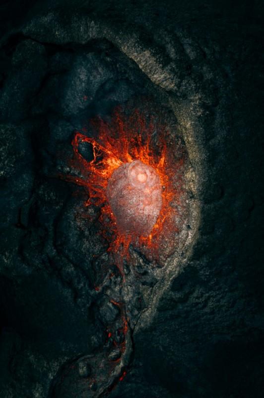 poza drona vulcan eruptie fotografie aeriana